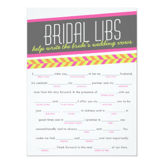 Bridal Libs Bachelorette Party Game Card (neon) 17 Cm X 22 Cm Invitation Card