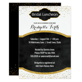 Bridal Luncheon   Black Gold Glitter Bridal Shower Card