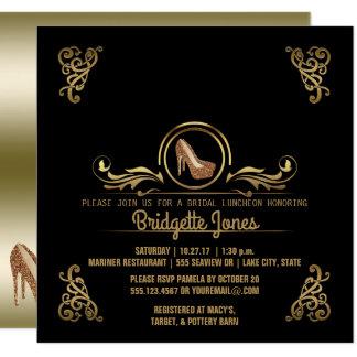 Bridal Luncheon Black Gold   Wedding Bridal Shower Card