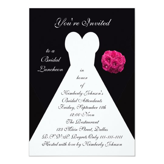 Bridal Luncheon Invitation -- Bridal Gown on Black