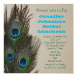 Bridal Luncheon Invitation -- Peacock Feathers