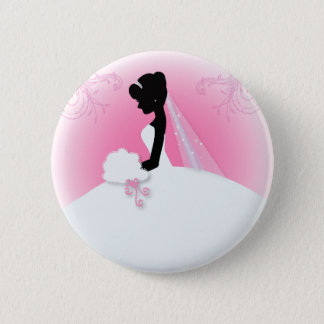 Bridal Mrs Right Pink bride silhouette 6 Cm Round Badge