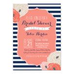 Bridal or Baby Shower Invitaion, Bold Stripe Coral 13 Cm X 18 Cm Invitation Card