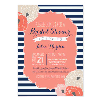 Bridal or Baby Shower Invitaion, Bold Stripe Coral 13 Cm X 18 Cm Invitation Card