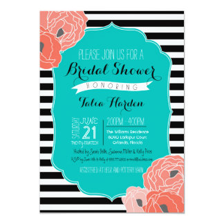Bridal or Baby Shower Invitaion - Bold Stripe Teal 13 Cm X 18 Cm Invitation Card
