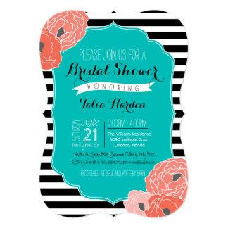 Bridal or Baby Shower Invitaion - Bold Stripe Teal 13 Cm X 18 Cm Invitation Card
