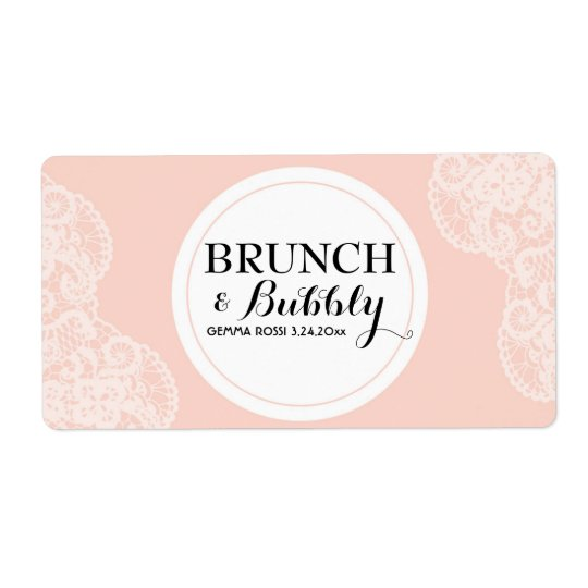 Bridal or Baby Shower Lace Mini Champagne Label Shipping Label