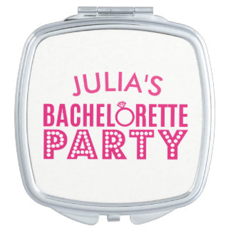 Bridal Party Bachelorette Pink Party Bride Mirror Travel Mirrors