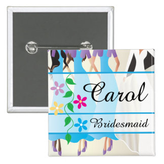 Bridal Party Dinner and Rehearsal Name Buttons Pin