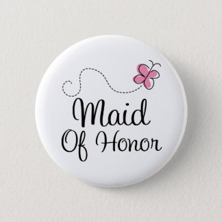Bridal Party Maid Of Honor Pink Wedding Button