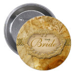 """Bridal party"" vintage gold brown victorian Badge"