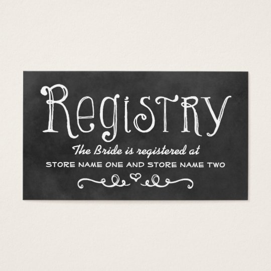 Bridal Registry Card | Black Chalkboard Charm