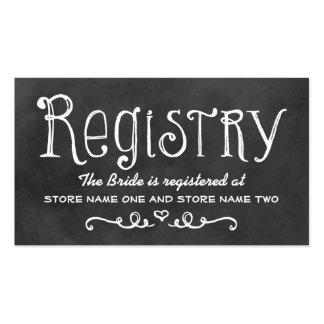 Bridal Registry Card | Black Chalkboard Charm Pack Of Standard Business Cards