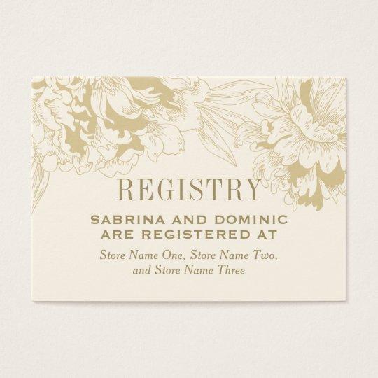 Bridal Registry Card | Ivory Gold Peony