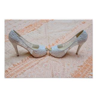 Bridal shoes and wedding rings art photo