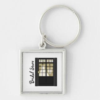 Bridal Shop Silver-Colored Square Key Ring