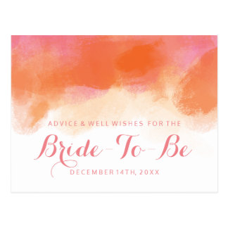 Bridal Shower Advice Blush Pink Coral Watercolor Postcard