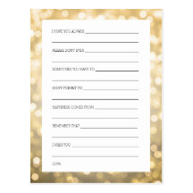 Bridal Shower Advice Cards Gold Glitter Lights Postcard