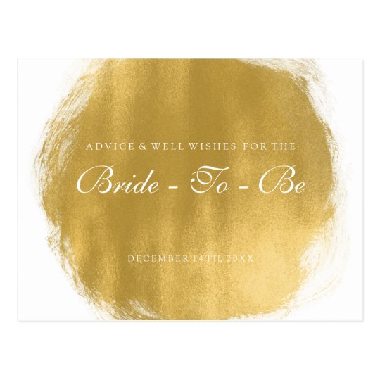 Bridal Shower Advice Cards Gold Paint Look