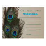 Bridal Shower Advice Post Cards - Peacock feathers