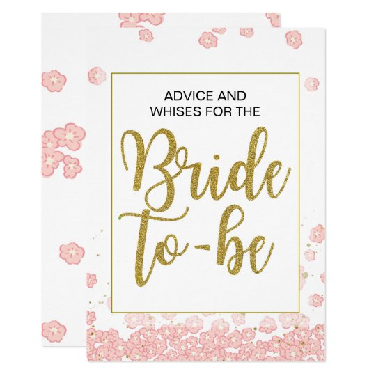 Bridal Shower Advice Sign | Pink and Gold