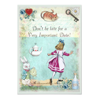 Bridal Shower Alice in Wonderland Don't Be Late 13 Cm X 18 Cm Invitation Card