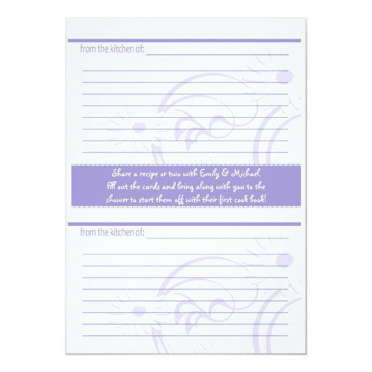 Bridal Shower and recipe cards Purple