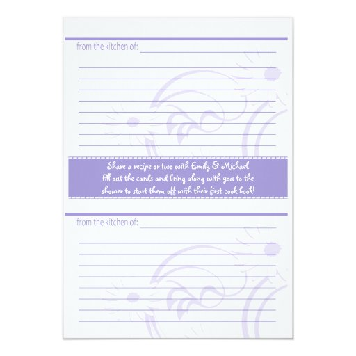 Bridal Shower and recipe cards Purple 13 Cm X 18 Cm Invitation Card
