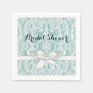 Bridal Shower Aqua Lace with Ribbon Disposable Napkin