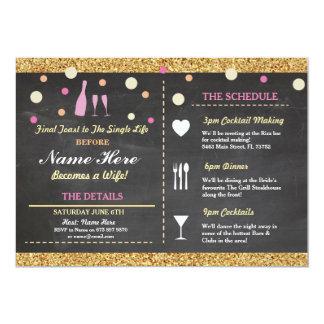 Bridal Shower Bachelorette Glitter Itinerary Pink 13 Cm X 18 Cm Invitation Card