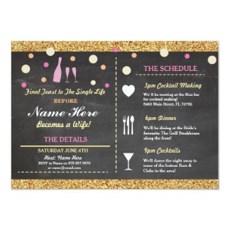 Bridal Shower Bachelorette Glitter Itinerary Pink Card