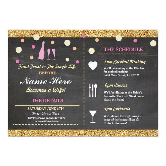 Bridal Shower Bachelorette Glitter Itinerary Pink Card