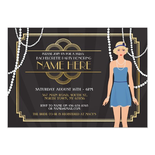 Bridal Shower Bachelorette Party 1920s Girl Invite