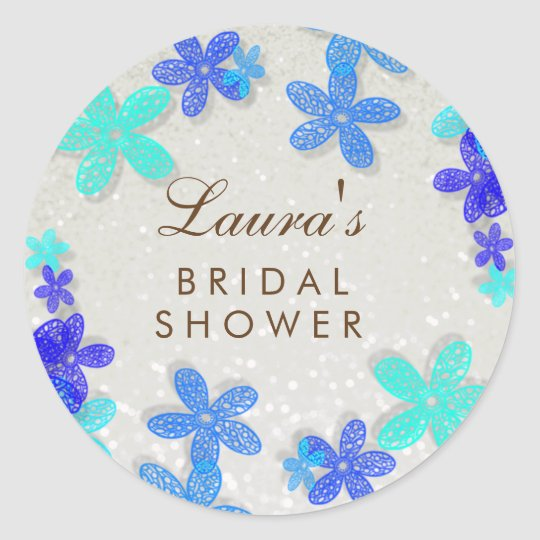 Bridal Shower Beach Blue Floral Confetti Pearl Classic Round Sticker
