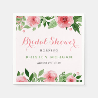 Bridal Shower Beautiful Watercolor Rose Flowers Paper Napkin