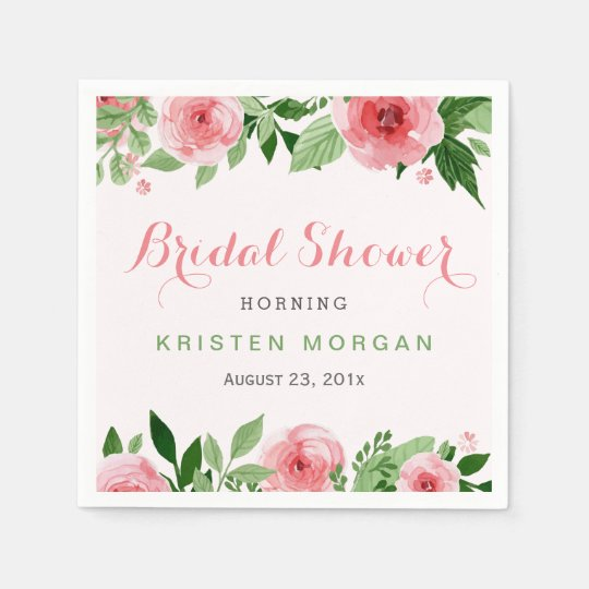 Bridal Shower Beautiful Watercolor Rose Flowers Paper Napkin