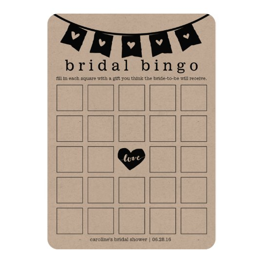 Bridal Shower Bingo Game Card | Kraft Hearts