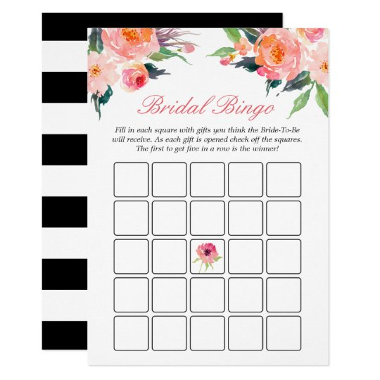 Bridal Shower Bingo Game Modern Watercolor Floral Card