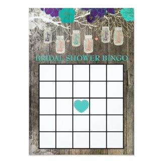 Bridal Shower Bingo Game Rustic Mason Jar Floral Card
