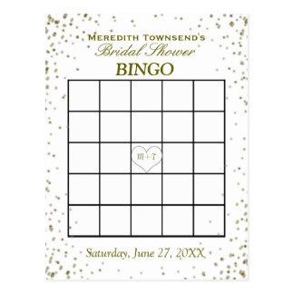 Bridal Shower Bingo | Gold Confetti Postcard