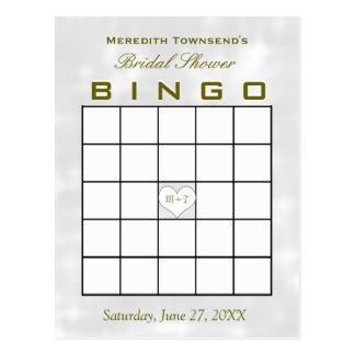 Bridal Shower Bingo Monogram Heart Postcard