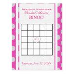 Bridal Shower Bingo | Pink and Silver Postcard