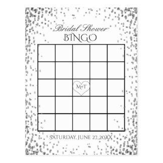Bridal Shower Bingo | Silver Confetti Postcard
