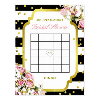 Bridal Shower Bingo | Stripes and Roses Postcard