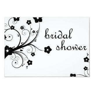 bridal shower : black and white blossoms 9 cm x 13 cm invitation card