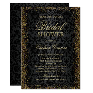 Bridal Shower - Black Damask and Gold Confetti Gli Card