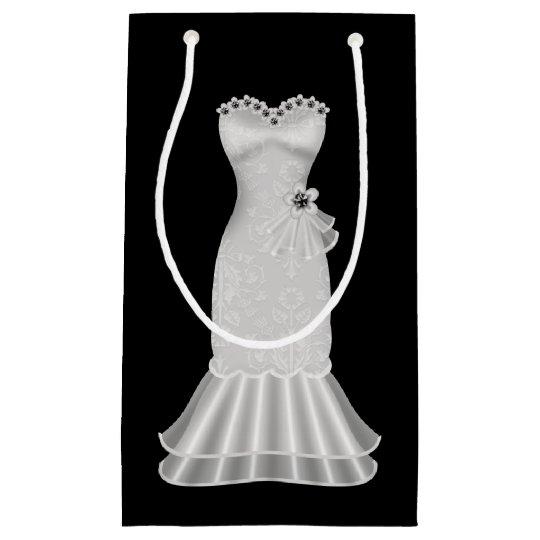 Bridal Shower Black Gift Bag with Elegant Dress