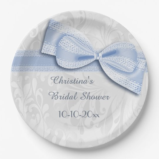 Bridal Shower Blue Damask and Faux Bow Paper