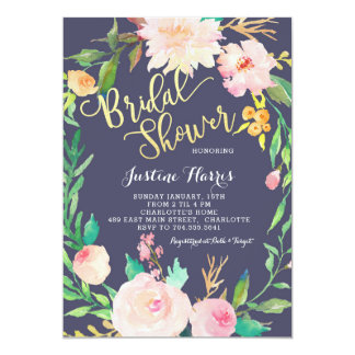 Bridal Shower, Blue Flowers, Gold Invitation