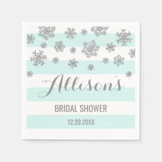Bridal Shower Blue Stripes Silver Snow Winter Disposable Napkins